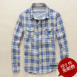 Wholesale Shawn new autumn fashion casual Korean version of the trend of British men s plaid long sleeved shirt Slim primer shirt