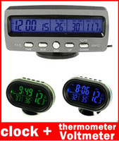 Wholesale 12V Car Voltage Monitor Battery Alarm Temperature Thermometer Clock display Car original