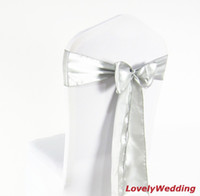 Wholesale silver satin chair sash for weddings chair bow satin sash for cover chair spandex decoration