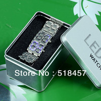 Men's Rectangle 8.89 New Arrival Fashion Rectangle Face Digital LED Light Display Man Stainless Steel Band Wrist Watches+ Gift Metal Box New