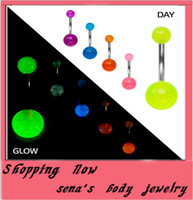 Wholesale B14 belly bar mix colors glow in dark body piercing jewelry belly button ringB14