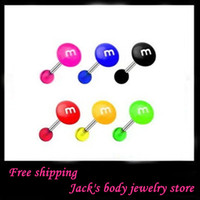 Wholesale M tongue ring T09 mix color G acylic body jewelry piercing straight tongue barbell ring