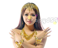Wholesale 1set woman belly dance jewelry headdress necklace earrings finger ring bracelet suit indian dance head pin torque earring hand ring props
