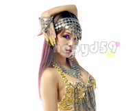 Wholesale 1set lady belly dance jewelry headdress necklace earrings finger ring bracelet suit indian dance head pin torque earring hand ring props
