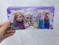 Plastic   2014 Hot Frozen Pencil Bags Fashion Cartoon Elsa Anna Pencil Case Kids Stationary Bags Christmas Gift 3 Colors BB206