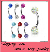 Wholesale E10 eyebrow ring mix color shamballa disco ball eyebrow stud piercing jewery Eyebrow bar
