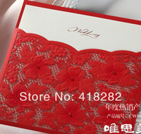 Wedding Event & Party Supplies Yes Free Shipping 2014 New Sample Order 1 pcs Elegant Red Flowers Lace Wedding Invitation Card with Envelope,blank inside card