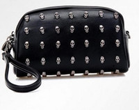 Wholesale New arrival hot leather purse bag cross body rivet bag women day clutch bag women s small bags wallet bags skull rivet bag