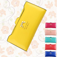 Wholesale New Women Butterfly Leather Long Wallet Pocket Card Clutch Cente Bifold Purse