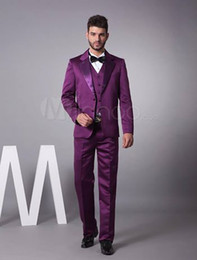 Wholesale 2014 Custom Made Serge Satin Purple Groom Wear With Vest Two button the groom dress for Men wedding Men s Suits Groom Tuxedos Wedding Suits