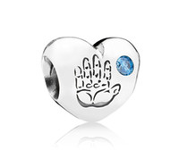 Metals Hearts, Love Blue 925 Sterling Silver Baby Boy Heart Bead with Blue Cz Fits European Style Pandora Jewelry Charm Bracelets