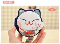 Wholesale Cartoon Round Folding mirror Single Lucky Cat Mirror Make up mirror Handbag Purse Hanger Hook Holder mixed Colors