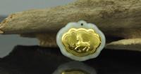 Wholesale 2 Chinese zodiac pendant locks k gold jadeite pendant A grade natural jade charms lockets love Gold and jade