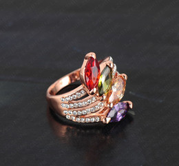 Wholesale 2014 Best Sell Luxury Austria Crystal Ring Ring Jewelry Direct Gold Color Retention k Rose Gold Diamond Wedding Rings