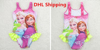 Wholesale Hot Fashion Children Cartoon Frozen Princesses Anna Elsa One Piece Swimsuit Cute Baby Tutu Swimwear Kids Bikini Beach Swimming Clothing