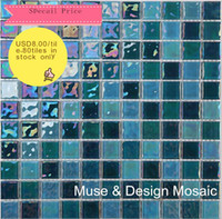 Wholesale Sicis Mosaic crystal glass mosaic x25 mm mosaic blue mosaic tile MD wall tile bathroom tile swimming pool wallpaper