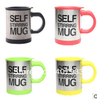 Wholesale 20pcs high quality colors Coffee Mixing Cup Mug hot selling Bluw Stainless Steel Self Stirring Electic Coffee Mug