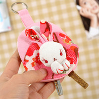 Wholesale Cartoon rabbit pray Embroidery keychain keys wallet Purse change pocket holder