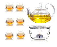 Wholesale Borosilicate Glass Manually Blow molded Tea Set Warmer Infuser Double Wall Cups Candles