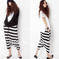 Wholesale Cropped Striped Hip hop Drop Crotch Baggy Women Loose Fashion Haroun Harem Yoga Pants Trousers For