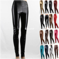 Leggings Skinny,Slim Women Fashion Sexy Women Faux Leather High Waist Stretch Lady Skinny Leggings 17 Colors YLG-0013
