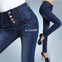 Wholesale Women s high waist buttons female skinny jeans women s plus size pencil s long trousers