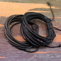 2PCS Moda Mens envoltório Leather Charm Bracelet Infinito Lot Mulheres trançado ajustável Cadeia de corda