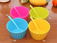 Wholesale Candy Color Plastic Ice Cream Cup and Spoon Lacework Ice Cream Tub Bowl MINI Kitchen Gadgets set