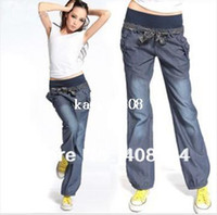 Pants bloomers for women - The new loose denim women pants with belt wide leg s bloomers elastic waist bow trousers for women