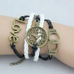 Wholesale Cute bracelets creative jewelry womens mens freedom bracelet clock watch jewelry handcuffs love Wax Cords Best Chosen Gift ideas