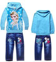 big girl jeans - Elsa princess suit jeans fleece Ice snow children clothing Frozen Outfits big adventure girl Hoodies hot sale trousers sets YS