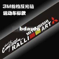 "Carbon Fiber Vinyl Film Stickers Yes Wholesale-Cool Racing Car Front Rear Windshield Car Window Stickers Reflective Auto Logo Decal For MITSUBISHI ""RALLI ART"" WS-01"