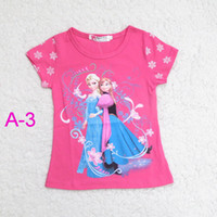 Girl Summer Character Frozen Short Sleeve 2014 Tshirts Children clothing Cartoon Anna Elsa Tops Tees Kids Clothes Snowflake Queen Tshirt Top Child Kid 6p 1lot