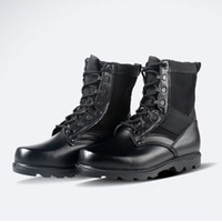 Wholesale salebags Fashion Men genuine leather military Boots Vintage Combat Army anti puncture combat Black Shoes X253