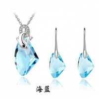 Wholesale Fashion Water drop Swarovski Elements Crystal Jewelry Sets Best Gift For Lover Silver Jewelry Set Austrian Crystal Necklace Earrings