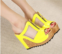 Wholesale summer shoes new high heels women flip flops summer Jelly shoes sandals platform wedges slippers girl s fashion beach Shoes C158