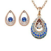 Wholesale Fashion crystal jewelry summer hot Austria Crystal Necklace Earrings style Holly Princes Swarovski Elements Gemstone Necklace Earring set