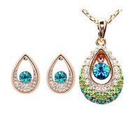 Wholesale Exquisite Waterdrop Swarovski Elements Crystal Jewelry Sets Best Gift For Lover Silver Jewelry Set Austrian Crystal Necklace Earrings