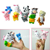 Wholesale set Cartoon Animal Finger Puppets Dolls Baby Toys Baby Plush Toys For Child Favor RPG Kid Bed Story