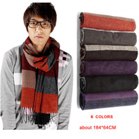knitted cashmere scarf - WJ005 New Fashion winter warm Men s Scarf Soft Cashmere Knitting Stripe colors cm scarves free drop shipping