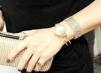 Wholesale Big Pearl Two Round Cuff Fashion Show Brand Bracelets Real Gold Plating