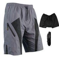 Wholesale 2014 Nylon Santic Men Loose Fit Cycling Bicycle Bike MTB Shorts D Padded Leisure Pants M XL H10827