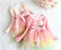 TuTu Spring / Autumn A-Line Wholesale New Autumn Winter children clothing,girls korean princess dress tutu dress,long sleeve pink clothes,rainbow lace gauze big bow