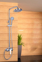 Wholesale 53603 ABS Plastic quot Shower Head Bath Bathroom Mixer With Handle Shower Single Holder Rual Control Rainfall Shower Faucets Set