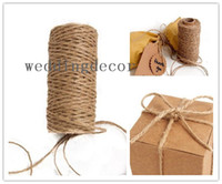 Wholesale 50 meters Natural Jute Twine Burlap String Ply Rope Wedding Wrapping Cord Thread Crafts Favour Supplies