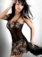 lady costume - New Ladies Sexy lingerie Sleepwear Nightwear G string Babydoll Transparent Nightgown costume Black B4022