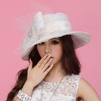 adult hair bows - Fashion Women Hat Organza Hat Summer Sun Hat Organze Women Hair Accessoies Flower Church Hat Wide Brim White Sequins Hat with Bow Veilings
