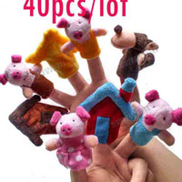 "Unisex 3-4 Years Multicolor Wholesale-40Pcs Soft Plush Puppet Finger Toys Educational Story-telling Toy For Children ""The Three Little Pigs"" 8454"