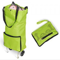 Folding Plain Polyester Green wholesale foldable trolley shopping bag with wheels free shipping Dayuse shopping bag casual shopping bag