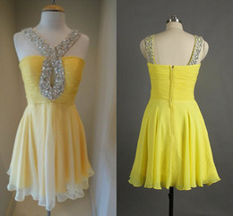 Wholesale 2015 New Party Dresses A line Spaghetti Straps Backless Sequins Beads Crystal Pleat Short Mini Chiffon homecoming Prom dresses